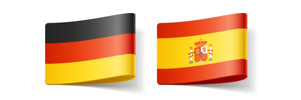 German and Spanish flags, translator in Spanish directory