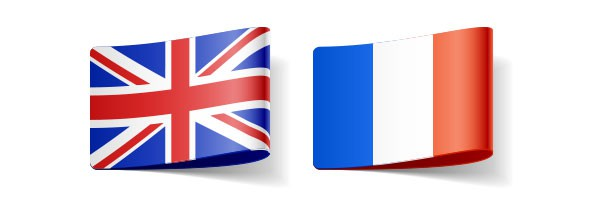 UK and French flags representing these language translation services