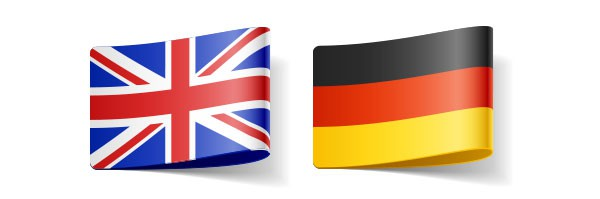 flags representing English and German languages in translators' directory