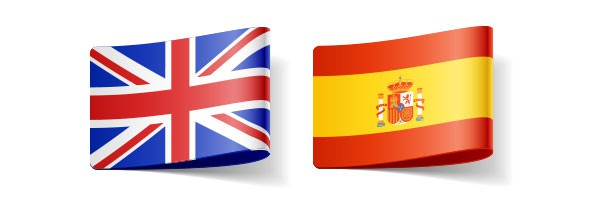 'English' and Spanish flags representing these languages in translators' directory