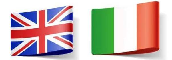 English Italian flags, translator living in Italy
