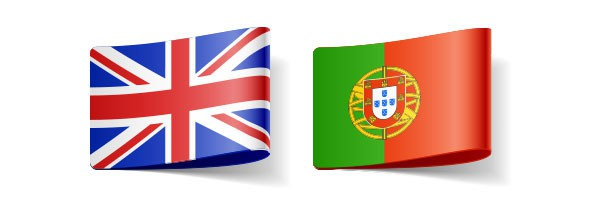 flags representing English and Portuguese language in translators' directory trusted colleagues