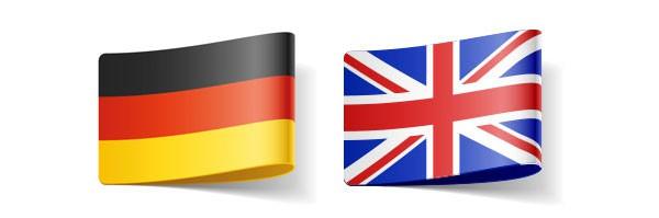 Flaggen, die Deutsch-Englisch Übersetzungen repräsentieren