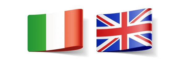 Italian and UK flag representing English translator in directory