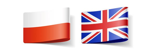 Polish and UK flags representing the translator for these languages