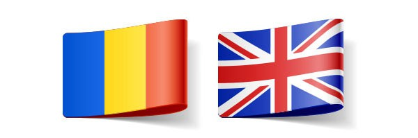 Romanian and UK flags representing translator for these languages in directory
