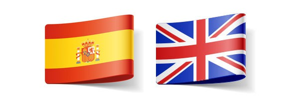 English and Spanish flags representing translator for these languages