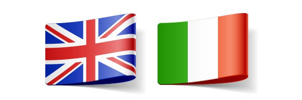 flags representing English to Italian translator in UK directory