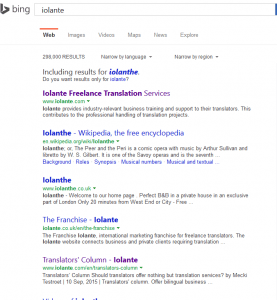 "List of results when searching for ""Iolante"""