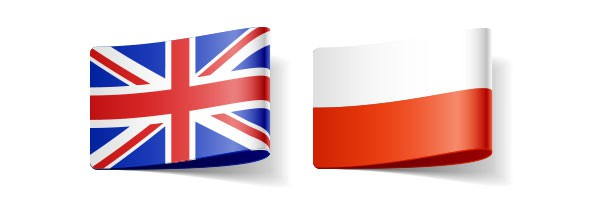 'English' and Polish flags representing relevant translator and interpreter