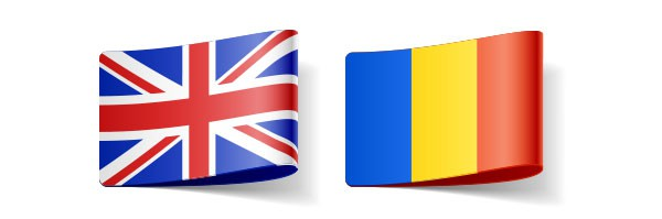 Uk And Romanian Flags For English Translator In Directory