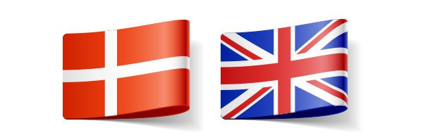 English and Danish flags representing these languages' translator