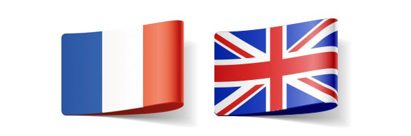 French and English flags representing these languages' translator
