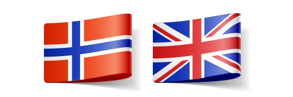 Norwegian and UK flag representing these languages in translators' directory