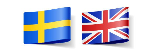 English and Swedish flags representing translator for these languages
